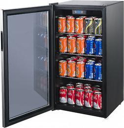 110 Can Beverage Mini Fridge Stainless Glass Door Freestandi