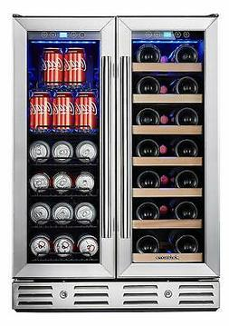 Kalamera 24'' Beverage and Wine Cooler Dual Zone Built-in an