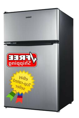 Galanz 3.1 CuFt Two Door Mini Fridge with Freezer Stainless