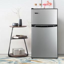 3.2 Cu Ft Stainless Steel 2 Door Mini Refrigerator Freezer C