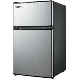 3.2 Cu Ft Two Door Mini Fridge w Freezer, Stainless Steel, E
