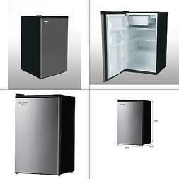 4.4 cu. ft. mini fridge in black with stainless steel door  