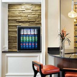 60Can Home Beverage Mini Refrigerator Fridge with Glass Door