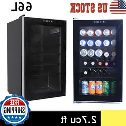 Beverage Cooler and Refrigerator Small Mini Fridge with Glas