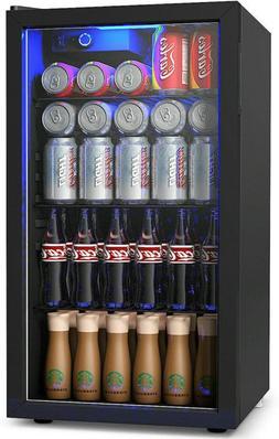 COSTWAY Beverage Refrigerator Mini fridge cooler with LED gl