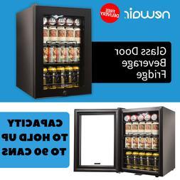 Black Mini Fridge Beverage Cooler With Glass Door Capacity T