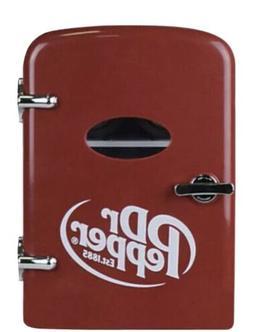 Dr. Pepper 6 Can Cooler Mini Fridge - 12V Car or 120V AC Wal