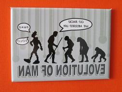 "EVOLUTION OF MAN 2-1/2"" x 3-1/2"" Mini Metal Tin Sign Refrige"