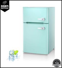 Kismile Double Door 3.2 Cu.ft Compact Refrigerator With Top