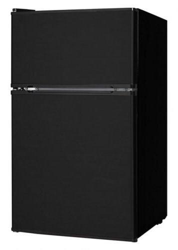 3.1 cu ft, Black Double Door Mini Fridge with Freezer Bedroo