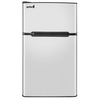 2 Door Stainless Steel Compact Refrigerator Freezer Cooler F