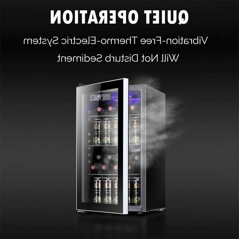 Beverage Refrigerator Cooler 85 Can Bottle Mini Fridge with Glass