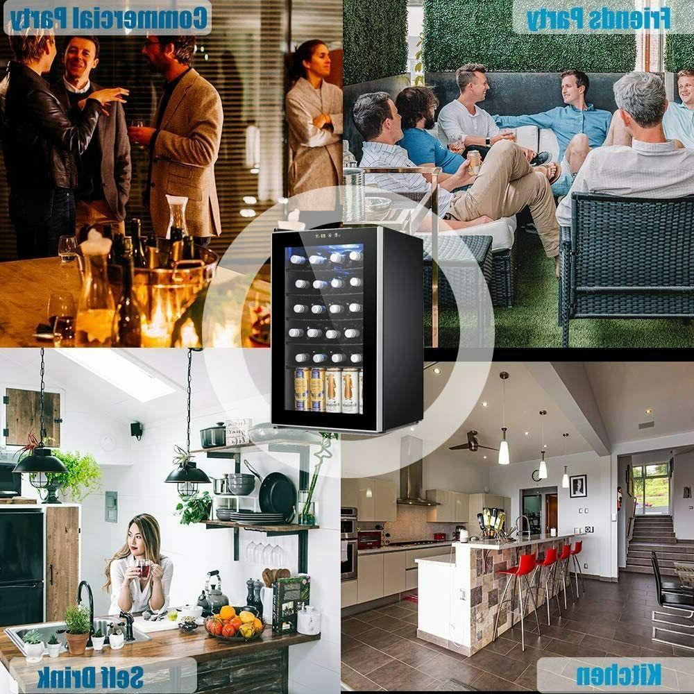 Beverage Refrigerator Cooler 85 Can or 24 Bottle Fridge Glass Door