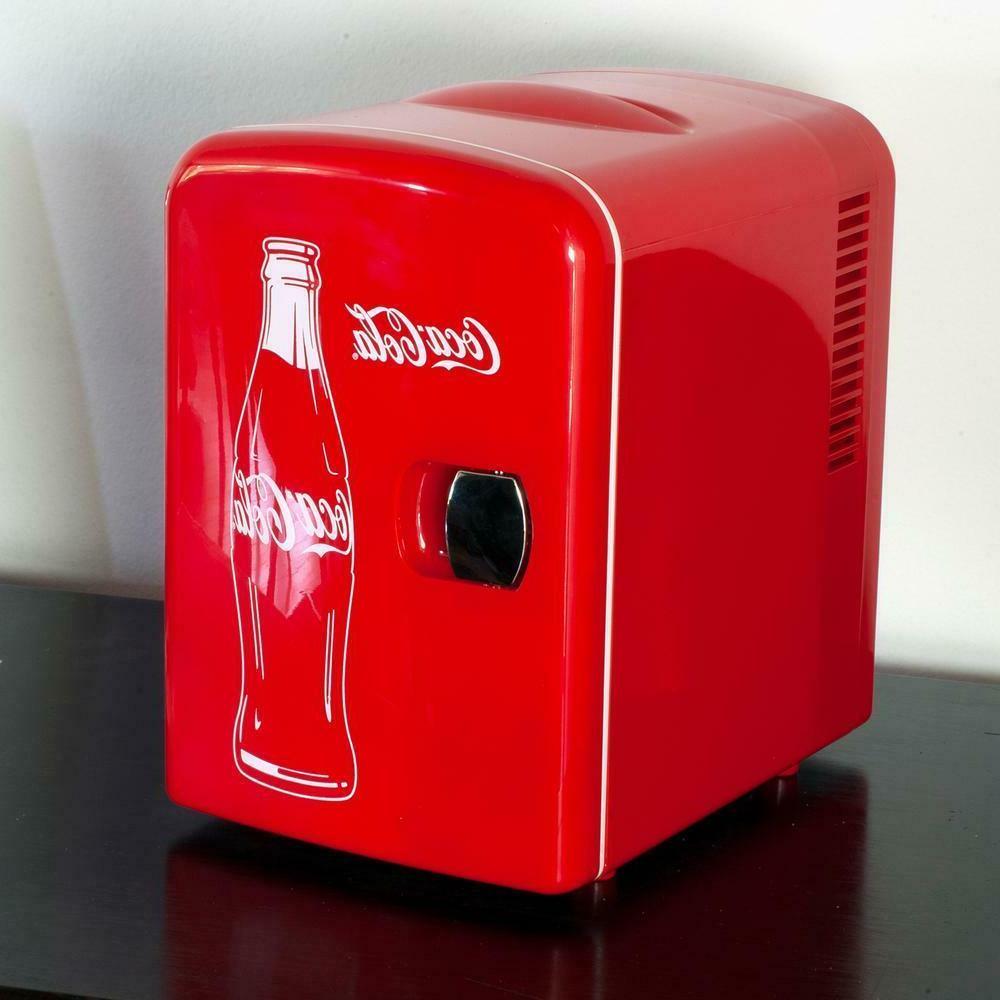 Coca-Cola 0.14 cu. ft. Can AC/DC Mini Fridge Red without Freezer