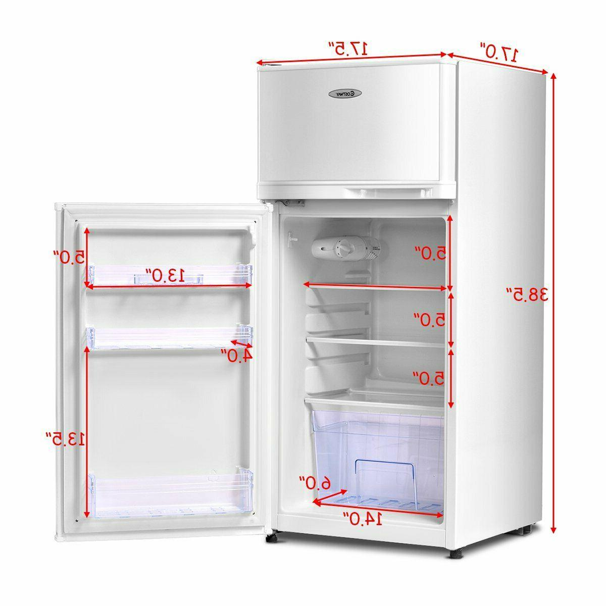 compact refrigerator mini fridge freezer removeable shelves white