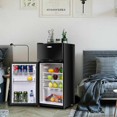 Double Compact Mini Refrigerator 3.4 cu Freezer Cooler Fridge for Dorm