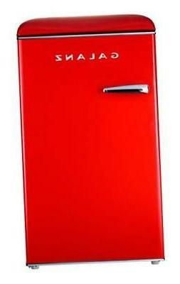 Galanz GLR35RDER Mini Fridge, Retro, Red 3.5 Cu Ft Red