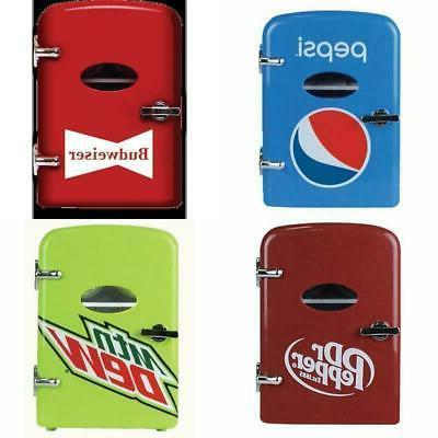 mini fridge cooler 6 can portable retro