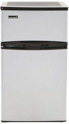 Mini Refrigerator Fridge Freezer 3.1 Cu. Ft. Stainless Look