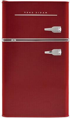 Mini Refrigerator Freezer Retro Small Fridge 2 Door Office D