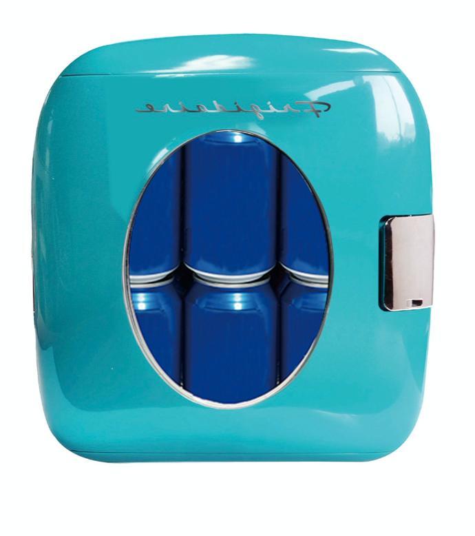 new blue 12 can retro fridge portable