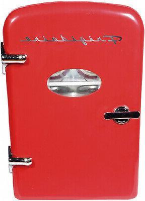 Retro Mini Fridge 6-Can Portable Compact Refrigerator Store
