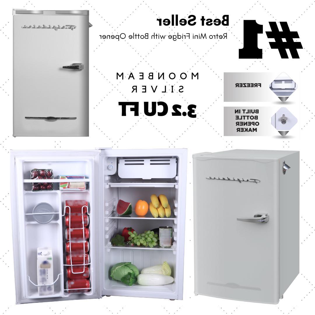 Silver 3.2 Cu Ft Retro Mini Fridge Compact Refrigerator Smal