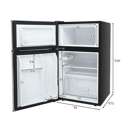 3.2 Ft. Stainless Steel Mini Refrigerator Freezer Cooler