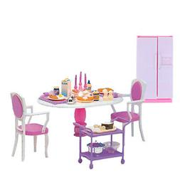 Mini Dining Table Chair and Fridge for Dollhouse Kitchen Acc