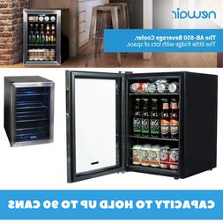 Mini Fridge Beverage Cooler Capacity To 90 Cans Black And St
