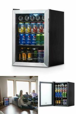 Mini Fridge Stainless Steel Glass Door Beverage Refrigerator