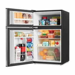 Galanz 3.1 Cu Ft Two Door Mini Fridge with Freezer, Stainles