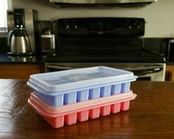 2 Pk Mini Ice Trays with Cover Stackable Small Fridge Freeze