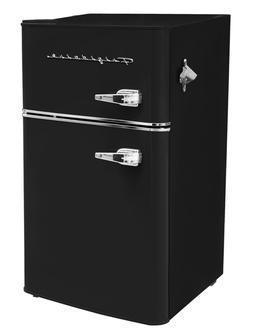New Black 3.2 Cu Ft Retro Mini Fridge 2 Door Freezer Refrige