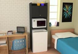 Black Wood Refrigerator Storage Cabinet Microwave Dorm Mini